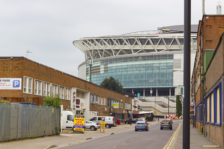 wembley: London, England - June 3, 2016: View of the outside of Wembley Stadium, a football stadium which opened in 2007, in London, England. Editorial