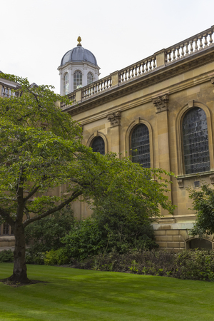 cambridge: Cambridge, England - July 7, 2016: Architecture view of Clare College ancient buildings in Cambridge, England.