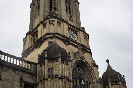 Oxford, United Kingdom - 3 September 2017: The clock of Tom bell Tower in the city of Oxford.