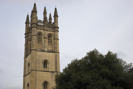 Oxford, United Kingdom - 3 September 2017: View in the city of Oxford of tower of Magdalen College Editorial