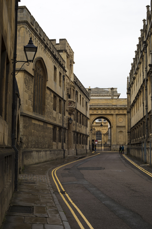 Oxford, United Kingdom - 3 September 2017: View of the streets of the city of Oxford with medieval buildings. Editorial