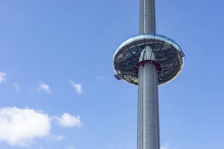 Brighton, England - 17 September 2017: Glass pod and Tower of the British Airways i360 in Brighton where visitors experience 360-degree views across Brighton Editöryel