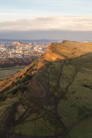 Landscape view of the Arthur Seat and Holyrood Park in Edinburgh, Scotland, UK