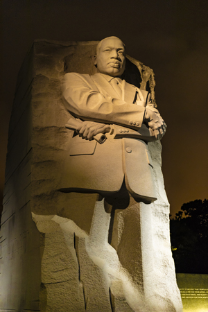 Washington DC, USA - October 12, 2017: View of the statue of Martin Luther King Jr statue at night.