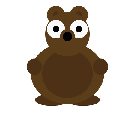 Brown bear vector illustration of a cute cartoon animal character for kids.