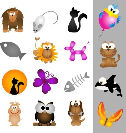 アイコンおよびロゴ - パート 1 (ベクトル) のための動物のグラフィック デザインの要素  イラスト・ベクター素材