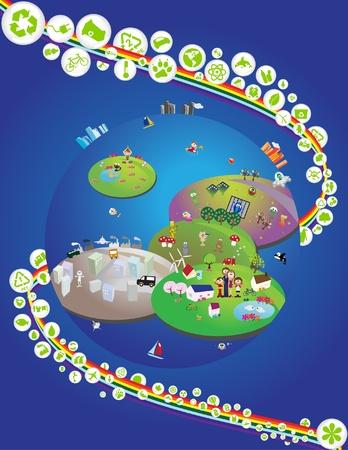 Recycling Environment Theme graphic design elements - Part 1 (vector) 일러스트