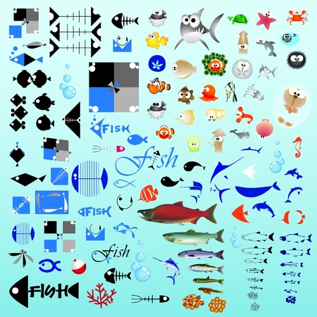 One hundred fish graphic design elements for icons and logos (vector) Illustration