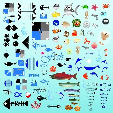 pez globo: Un centenar de elementos de peces de dise�o gr�fico para iconos y logos (vector)