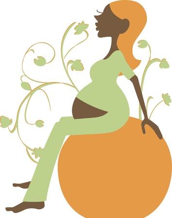 Yoga theme Part 1 - pregnant woman with fitness ball (vector) Ilustração