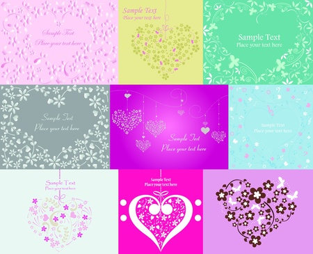 Valentine Day graphic design elements for cards and wallpaper – Part 1 (vector)