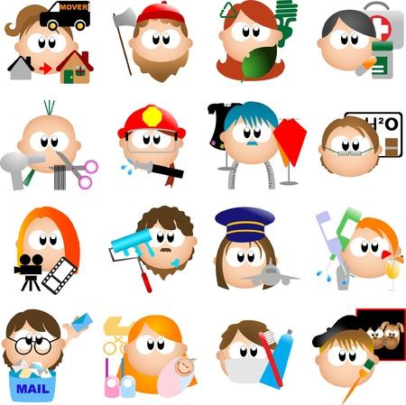 niños reciclando: Elementos de la ocupación de diseño gráfico para iconos y logos - Parte 1 (vector) Vectores