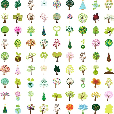 One hundred tree graphic design elements for icons and logos - Part 1 (vector) Vector