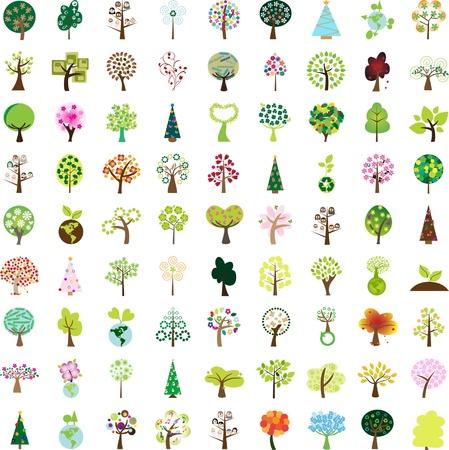 summer trees: Un centenar de elementos del �rbol de dise�o gr�fico para iconos y logos - Parte 1 (vector)