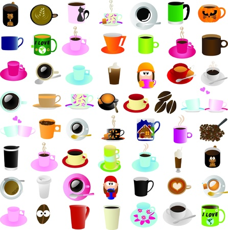 Coffee &amp, tea theme graphic elements for icons and logos  Illustration