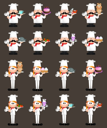 Restaurant them graphic elements for icons and logos Illustration