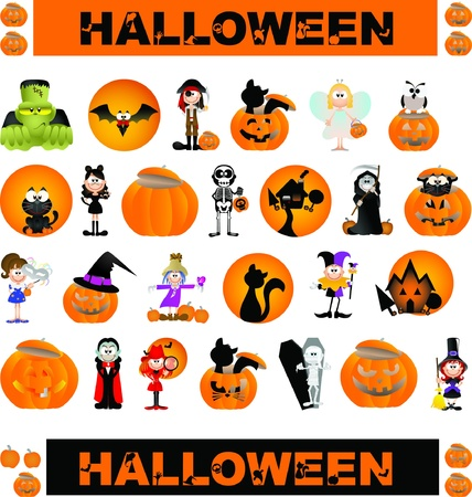 Halloween theme graphic design elements for icons and logos