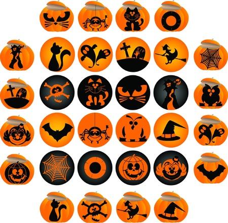 Elementos del tema de Halloween gráficos de iconos y logotipos
