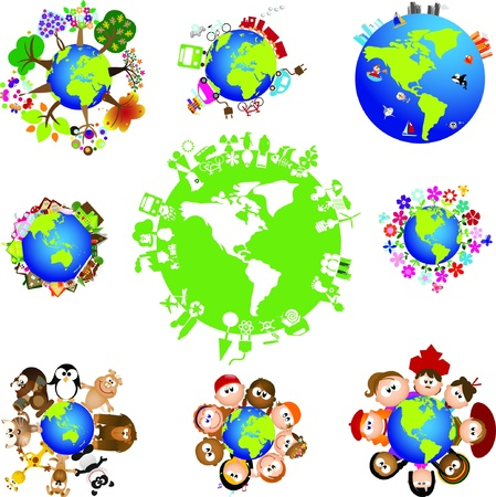 ni�os reciclando: Reciclaje y, los elementos de Medio Ambiente el tema de dise�o gr�fico Vectores