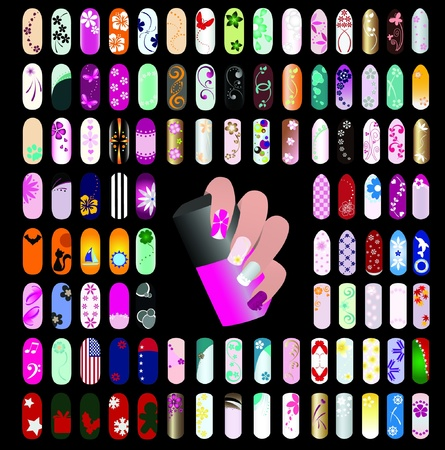 100 nail art graphic design elements for icons and logos Çizim