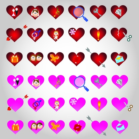 Valentine Day graphic design elements for icons and logos