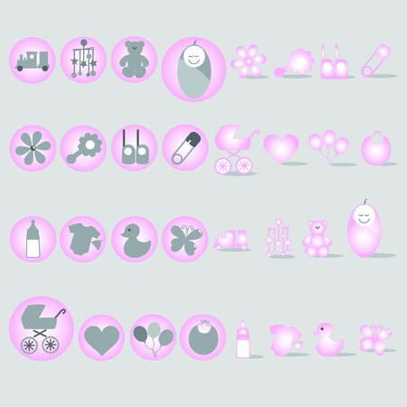 Baby pink, theme graphic design elements for icons and logos
