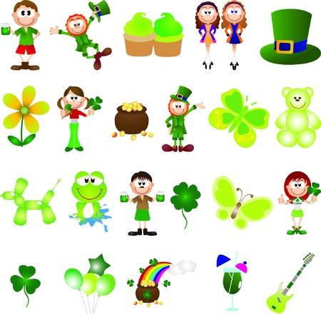St. Patrick dag grafische design elementen voor iconen en logo's