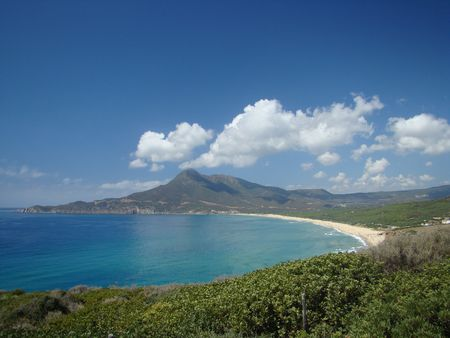 sardinia:  landscape of west coast of Sardinia island   Mediterranean Sea