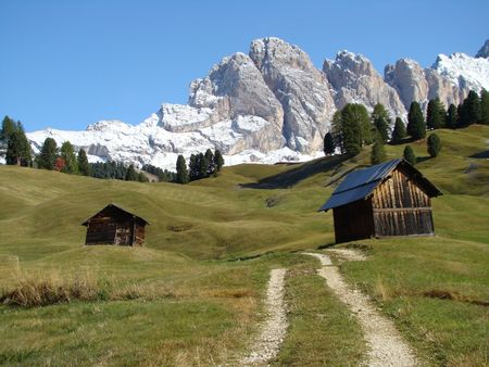 first snow in Alps,Dolomites Stock Photo