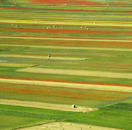 een vogelvlucht van velden, Piano Grande, Italië