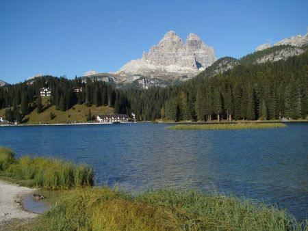 lake misurina: alpine lake, Misurina in background Tre Cime di Lavaredo peak,