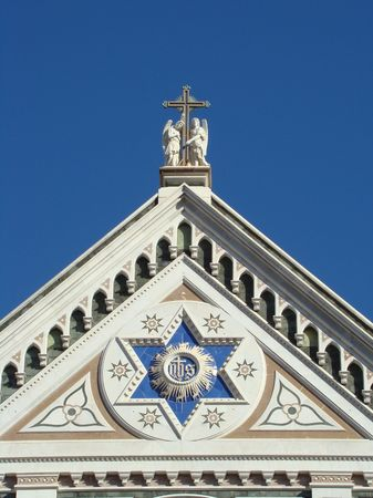 franciscan: fragment of neo-gothic facade of santa Croce church in Florence