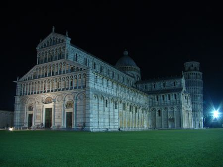 Campo dei Miracoli by night in Pisa photo