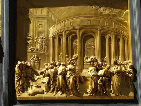 detail the Gates of Paradise,from baptistry of Florence,Tuscany, Italy. photo
