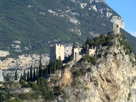 Castle of Arco in Italy, district of Lake Garda.                          photo