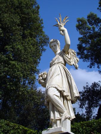 glorification:       statue in Boboli Gardens in Florence                          Stock Photo