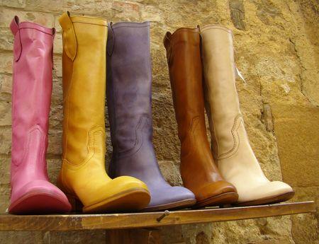 italian fine leather multicolor boots collection                       photo