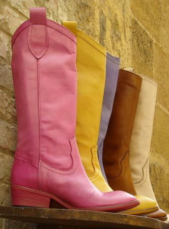 colorful leather boots made in Italy                                photo