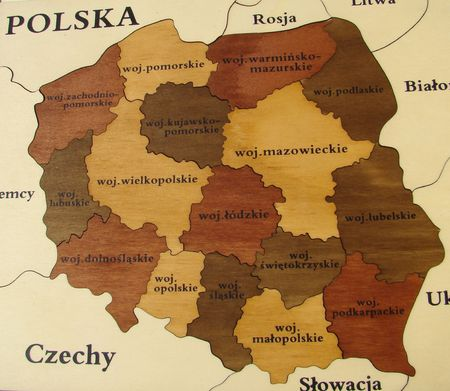 wooden puzzle with map of Poland                                photo