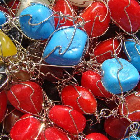 semiprecious:     colorful semiprecious pendants collection                                Stock Photo