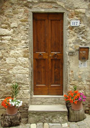 weet italian entrance flowery with colorful impatiens, Tuscany                                photo