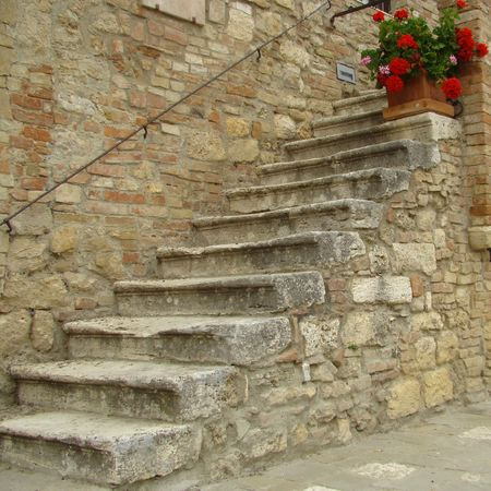 picturesque italian ancient stairs in Tuscany