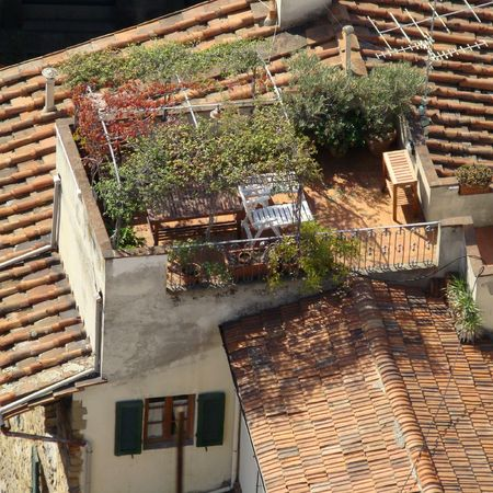 picturesque terrace on roof in Florence, Italy                               photo