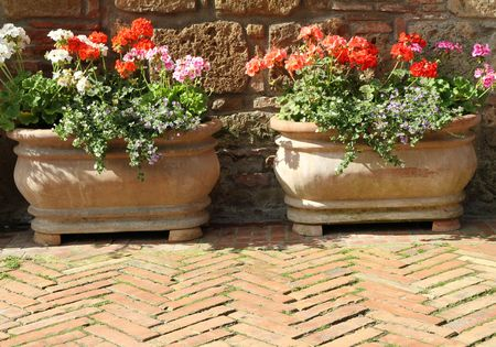 two beautiful flowerpot on medieval street in Italy photo