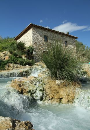 hydrothermal: Mill waterfall in tuscan spa town: Saturnia, Italy