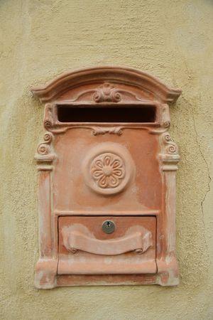 beautiful terracotta letter-box, Tuscany  Stock Photo - 7342758