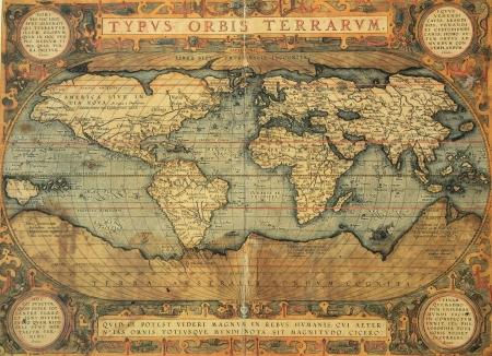 topografia: reproducci�n del siglo XVI Mapa del mundo grabado y color por el famoso cart�grafo holand�s Abraham Ortelius
