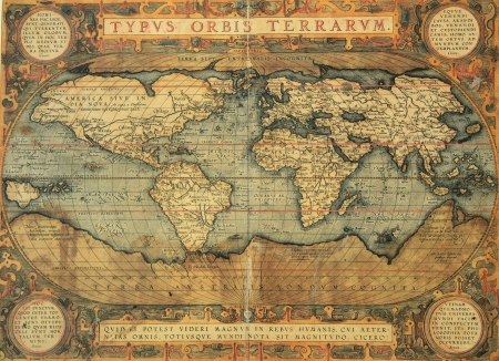 old rustic map: reproduction of 16th century map of the world  engraved and colored by the famous dutch cartographer Abraham Ortelius