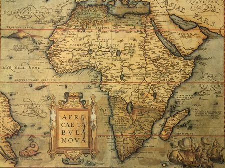 tribu: reproducci�n del siglo XVI mapa de �frica de grabado y color por el famoso cart�grafo holand�s Abraham Ortelius