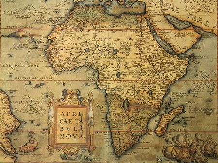 reproduction of 16th century map of Africa engraved and colored by the famous dutch cartographer Abraham Ortelius Stock Photo - 7444798